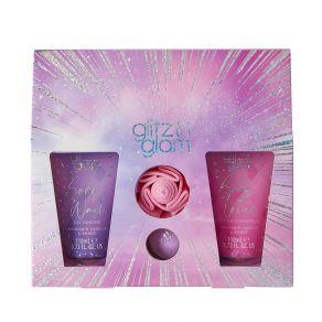 Style & Grace Glitz & Glam Glimmer Gift Set  - 110ml Body Wash, 110ml Body Lotion, 80g Bath Fizzer, Shower Flower
