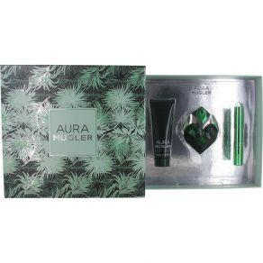 Thierry Mugler Aura Gift Set 30ml Eau de Parfum Spray, 50ml Body Lotion, Perfume Pen for Her