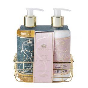 Style & Grace Signature Handcare Set - 280ml Hand Wash, 280ml Hand Lotion, Basket