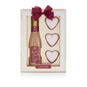 Style & Grace Signature Champagne Gift Set 2020 250ml Champagne Bubble Bath, 3 x 50g Heart Bath Fizzers