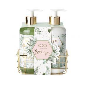 Style & Grace Spa Botanique Luxury Handcare Gift Set 280ml Hand Wash, 280ml Hand Lotion, Metallic Basket