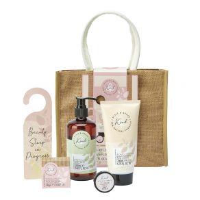 Style & Grace Kind Blockbuster Bag Set - 200ml Body Wash, 200ml Body Lotion, 50g Bath Salt, 65g Candle Votive, 10g Lip Balm, Door Sign, Burlap Shopping Bag