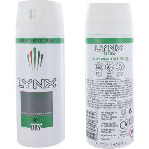 Lynx Africa Anti Perspirant Dry Protection 48H Body Spray Deodorant 150ml for Him