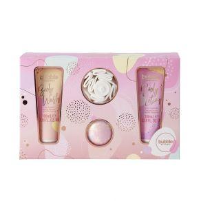 Style & Grace Bubble Boutique Gift Of The Glow- 100ml Body Lotion, 100ml Body Wash, 80g Bath Fizzer, Shower Flower
