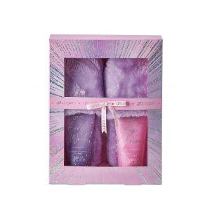 Style & Grace Glitz & Glam Slipper Set - 150ml Body Wash, 150ml Body Lotion, Fluffy Slippers