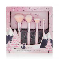Q-KI Party Ready Brush Collection Blusher Brush, Powder Brush, Blending Brush, Eyeshadow Brush, Makeup Bag