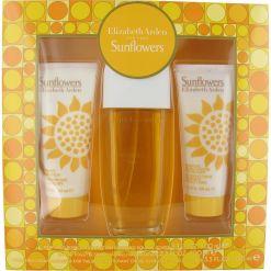 Elizabeth Arden Sunflowers Gift Set 100ml Eau de Toilette, 100ml Body Lotion, 100ml Cream Cleanser for Her